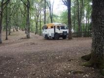 unser Stellplatz im Wald bei Bono