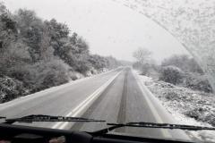 ein bisschen Schnee in Griechenland bei der Rückfahrt